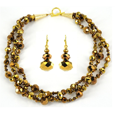 55cm Crystal Gold Necklace & Earring KIT