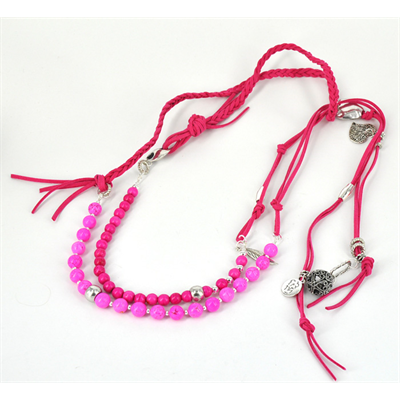 2m Plaited Charm Lariart  Pink KIT