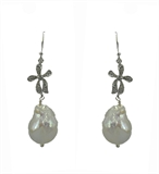 Baroque Bow Pearl earring 50mm-jewellery-Beadthemup