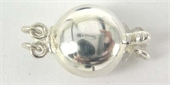 Sterling Silver Clasp 10mm Puff round 2 strand-clasps, toggles and extension chain-Beadthemup