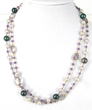 Vermeil Amethyst & Pearl Necklace-necklaces-Beadthemup