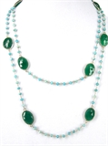 Sterling Silver Green Onyx & Turquoise Necklace-jewellery-Beadthemup