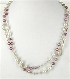 Sterling Silver Rose & Clear Quartz Pearl Nlace-necklaces-Beadthemup