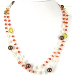 Sterling Silver Carnelian, Chalcedony & Pearl-necklaces-Beadthemup