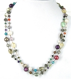 Sterling Silver Gemstone & Pearl Necklace-necklaces-Beadthemup