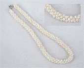 Fresh Water Pearl woven 10mm wide Necklace 46cm-jewellery-Beadthemup