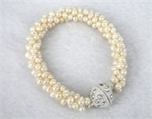 Fresh Water Pearl woven 10mm wide Bracelet 18cm-jewellery-Beadthemup