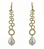 Gold Plate Fresh Water Pearl Earring 75mm-earrings-Beadthemup