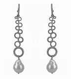 Silver Plate Fresh Water Pearl Earring 75mm-earrings-Beadthemup