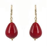 Gold filld Red Shell Coral Earrings 34mm