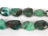 Chrysocolla Faceted Nugget 28x24mm beads per strand 1-chrysocolla-Beadthemup