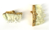 Clear Quartz Geode 40x60mm Pendant Gold-base metal-Beadthemup