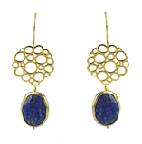 Gold Pl.Brass Laura Lapis 3 Earrings-earrings-Beadthemup
