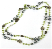 Sterling Silver Pearl, Peridot  & Smokey neck.-necklaces-Beadthemup