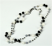 Sterling Silver Pearl & Spinel Chain necklace-necklaces-Beadthemup