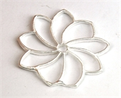 Sterling Silver plt Copper Connecter Flower 31mm 4 pack-925 silver plate copper-Beadthemup