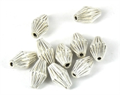 Sterling Silver plt Copper Bead Olive 13x8mm 10 pack-925 silver plate copper-Beadthemup