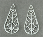 Sterling Silver plt Copper Connecter Teardrop 40mm 4 pack-925 silver plate copper-Beadthemup