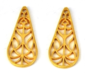 Gold plate  Copper  ConnectorTeardrop 40mm 4 pack-gold plate copper-Beadthemup