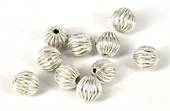 Sterling Silver plt Copper Bead Grooved 9mm round 10-925 silver plate copper-Beadthemup