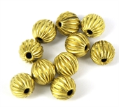 Gold plate  Copper Bead Grooved 9mm round 10p-gold plate copper-Beadthemup