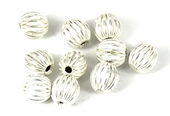 Sterling Silver plt Copper Bead Grooved 8mm round 10-925 silver plate copper-Beadthemup