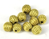 Gold plate  Copper Bead  Grooved 8mm round 10-gold plate copper-Beadthemup