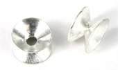 Sterling Silver plt Copper Dble sided cap 12x20mm 2p-925 silver plate copper-Beadthemup