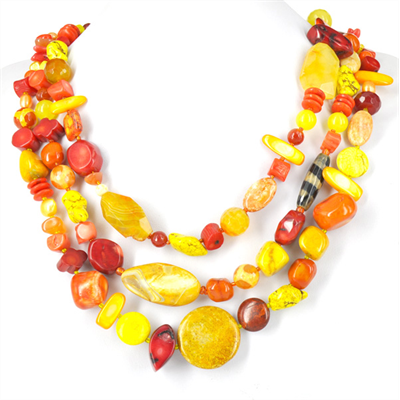 Golden Sunset Necklace 3 strand 58cm KIT