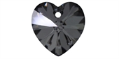 Swarovski 6228 14mm Crystal Silver Night 2 pack-heart pendants-Beadthemup