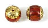 Resin bead with Gold cap 22mm EACH-base metal-Beadthemup