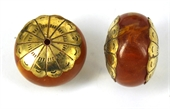 Resin bead with gold cap 17x27mm EACH-base metal-Beadthemup