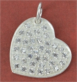 Sterling Silver Pend Heart CZ 16mm 1 pack-pendants and charms-Beadthemup