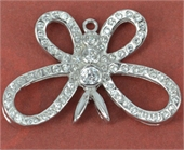 Sterling Silver Pendant Butterfly CZ 28x18mm-pendants and charms-Beadthemup