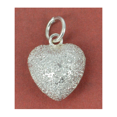 Sterling Silver Pendant Heart Stardust 12mm 1 pack