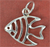 Sterling Silver Pendant Fish 19x16mm-sea side charm bracelet-Beadthemup