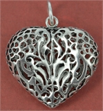 Sterling Silver Pendant Heart 34x42mm incl ring-pendants and charms-Beadthemup