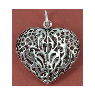Sterling Silver Pendant Heart 34x42mm incl ring