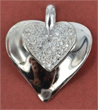 Sterling Silver Pendant Heart CZ 22mm Double-pendants and charms-Beadthemup