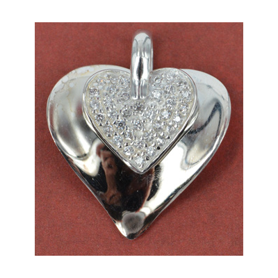 Sterling Silver Pendant Heart CZ 22mm Double