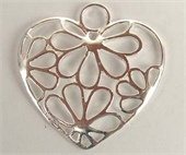 Sterling Silver Pendant Heart w/flower 26x28mm-pendants and charms-Beadthemup