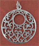 Sterling Silver Pendant Round Filligre 26x30mm 1 pack-pendants and charms-Beadthemup