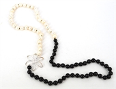 S.Silver Onyx & Pearl long Necklace