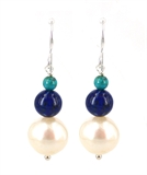 Copella S.Silver Lapis & Pearl Earrings