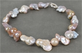 Large Pink Fresh Water Pearl & Sterling Silver necklace-necklaces-Beadthemup